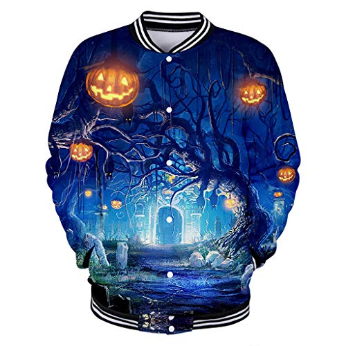 KLFGJ Women Halloween Coats Pumpkin Printed Graphic Sweatshirt Casual O-Neck Pullovers Tops Blouses]()