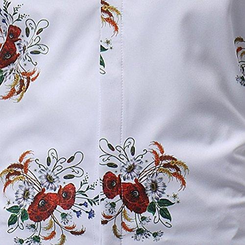 Tops À Vintage Floral Courtes Homme Imprimé Chemises Décontracté Casual Manches Aimee7 atvHRPwwn