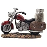 Decorative Red Motorcycle with Glass Salt and Pepper Shaker Set in Saddle Bags for Classic Bike Models & Vintage Chopper Figurines As Biker Bar or Kitchen Table Decor Sculptures and Retro Road Hog Gifts for Harley Riders