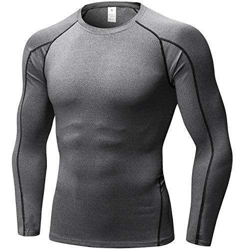 SILKWORLD Men's Long-Sleeve Compression Shirt Base-Layer Running Top,Grey, L by SILKWORLD (Image #1)