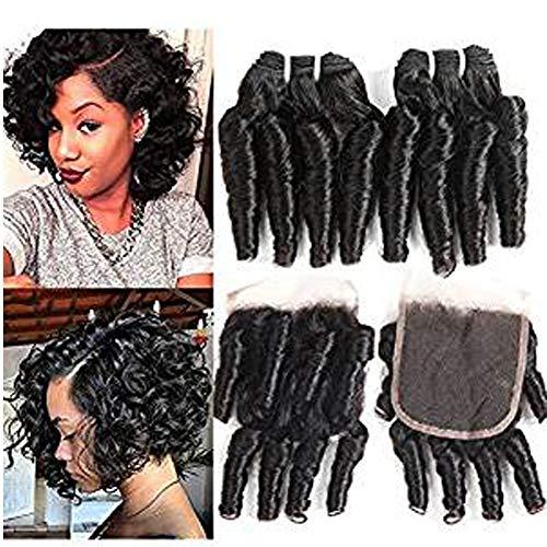 Molefi Brazilian Funmi Hair Curly Weave 4 Bundles with Lace Closure Spiral Curl Hair Bundles with 4x4 Closure 100% Human Hair Extensions 50g/pc Natural Black (8 8 8 8 +8)