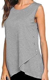 Shusuen Women's Sleeveless Round Neck Henley Tank Tops Button Down Blouse Shirts Tunics
