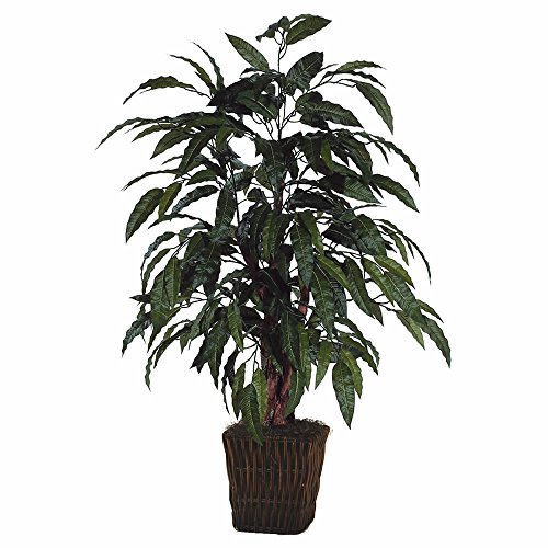 Vickerman 4' Artificial Mango Bush in Square Willow Container by Vickerman