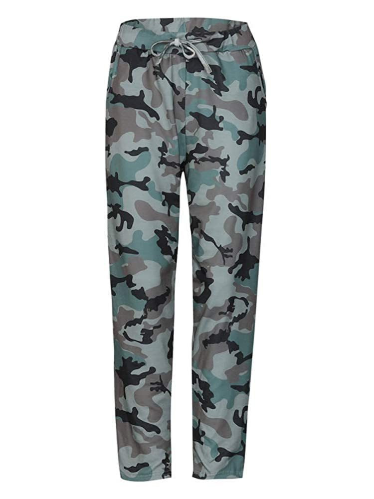 Camouflage ALLUMK Women Drawstring Waist Jogger Pants Casual Stripe Pants with Pockets