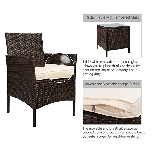 Flamaker 3 Pieces Patio Furniture Set Modern Outdoor Furniture Sets Clearance Cushioned PE Wicker Bistro Set Rattan Chair Conversation Sets with Coffee Table (Brown Wicker) by Flamaker (Image #2)'