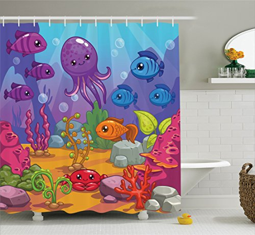 Ambesonne Whale Decor Collection Underwater World Aquarium Cartoon Octopus Reef Sand Seaweed Stones Bubbles Design Polyester Fabric Bathroom Shower Curtain Set with Hooks Purple Blue Orange