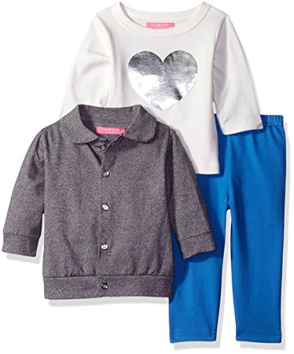 Isaac Mizrahi Baby Girls' 3pc Button Front Cardigan, Longsleeve Top and Legging Set, Classic Gray/Silver Foil Heart, 12 Months