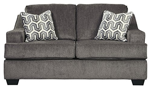 Cheap Ashley Furniture Signature Design – Gilmer Chenille Upholstered Loveseat w/Accent Pillows – Contemporary – Gunmetal