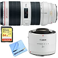 Canon EF 70-200mm f/2.8L IS II USM Telephoto Zoom Lens w/ Extender + 64GB Card Bundle includes Lens, EF 2.0X III Telephoto Extender, 64GB Extreme SD Memory Card and Beach Camera Microfiber Cloth
