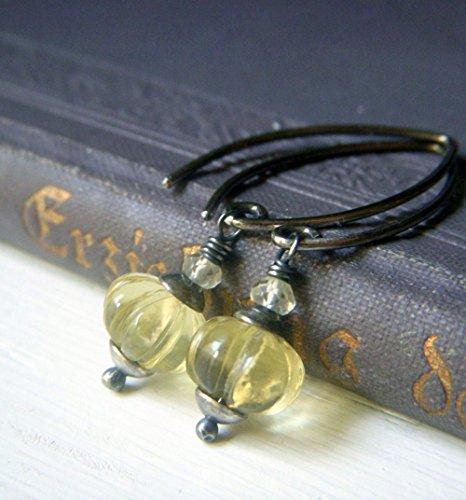 Lemon Quartz Earrings - Oxidized Sterling Silver - Carved Melon Gemstone Pale Yellow