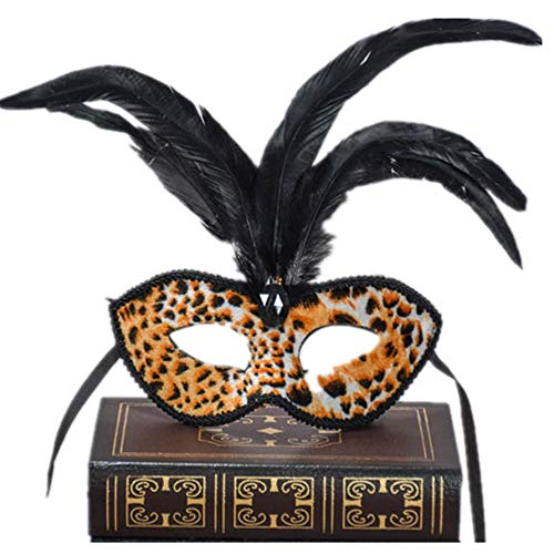 Festival Party Mask,Party Eye Mask,Sexy Leopard-Print Chicken Hair Half Face -