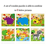 VolksRose 9 Pcs Wooden Cube Block Jigsaw Puzzles - Zoo Animal Pattern Blocks Puzzle for Child 1 Year and Up -- Perfect Christmas Gift for Your Kids