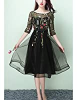 Vanial Women's Floral Embroidered Prom Dress Formal Evening Gown V241