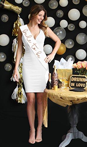 Lovely Bride To Be Metallic Rose Gold Satin Sash - Bachelorette Party Decorations White Sash(LvlyB2B RsGld) Wht by RhinestoneSash (Image #1)