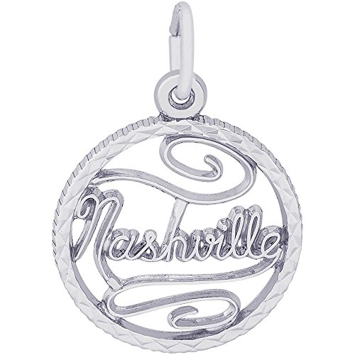 Sterling Silver Tennessee State Charm - Rembrandt Charms Sterling Silver Nashville Charm (17 x 17 mm)