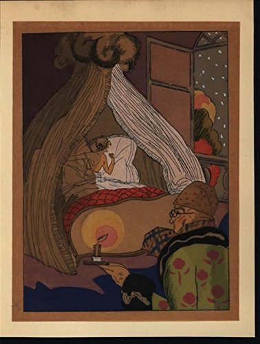 Nude Beauty Candlelight Bedroom c.1930 vintage hand color pochoir art deco print