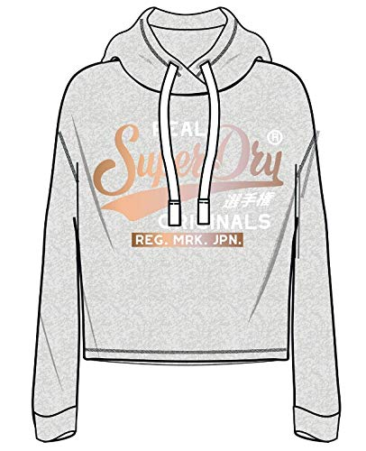 Mujer Para Sudadera Co Grigio Marl Originals Satin Real grey 07q Superdry Bonded xfg7Y7