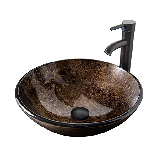 Sink Vanity Bowl Vessel - Tempered Glass Vessel Bathroom Vanity Sink, Artistic Round Washing Bowl, Oil Rubbed Bronze Faucet & Pop-up Drain Combo