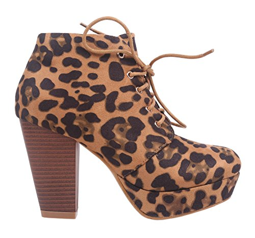 Marie Women Bella Ankle Suede Heel Lace Faux High Boots up Leopard 7aqqwx1