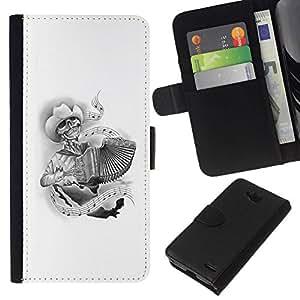 All Phone Most Case / Oferta Especial Cáscara Funda de cuero Monedero Cubierta de proteccion Caso / Wallet Case for LG OPTIMUS L90 // Skull Music White Cowboy Accordion