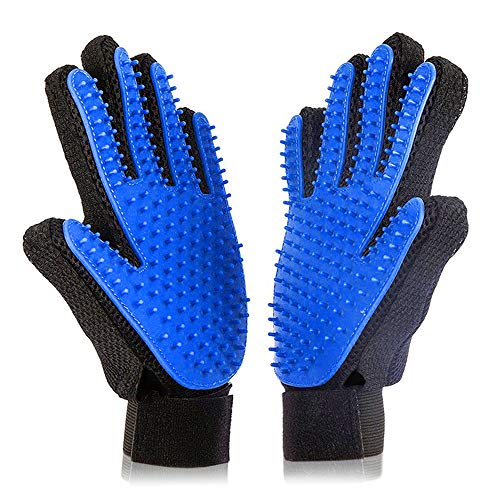 (Xubox Pet Grooming Glove, Gentle Deshedding Brush Glove Grooming Tool Efficient Pet Hair Remover Mitt, Rubber Tips Massage, Soft Groomer Mitt, Perfect Dogs & Cats Long & Short Fur, 1 Pair)