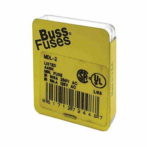 Mdl Slow Blow Fuses (Bussmann MDL-2 Glass Fuse 2 Amp 250 Volt Time Delay (Slo-blo) (5 pack))