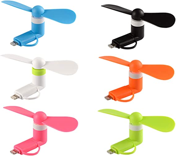 Cell Phone Summer Accessories - 6-Pack Mini Cell Phone Fan Colorful and Powerful 2-in-1 Fan for iPhone//iPad//Android Smartphone//Tablet