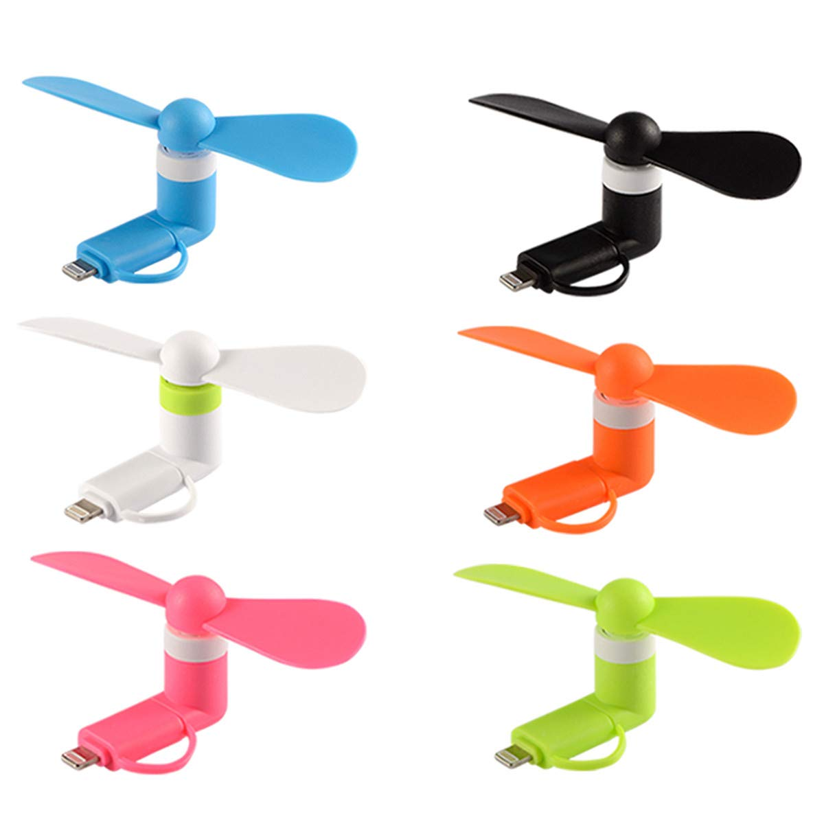 Mini Cell Phone Fan - Colorful and Powerful 2-in-1 Fan for iPhone/iPad/Android Smartphone/Tablet - Cell Phone Summer Accessories - (6-Pack) by Xindejia