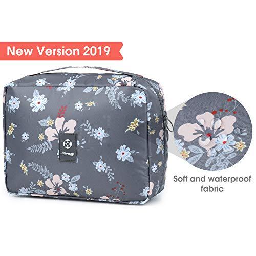 Hanging Travel Toiletry Bag Cosmetic Make up Organizer for Women and Girls Waterproof (B-Dark Flower)