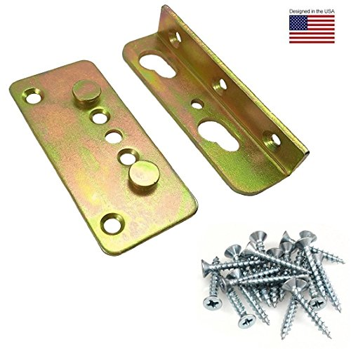 Make Wood Headboard (Premium No-Mortise Bed Rail Fittings (Complete Set of 4, #8 x 1