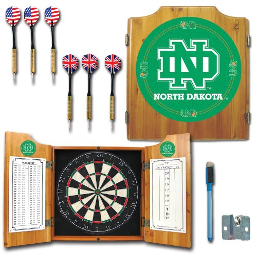 NCAA University of North Dakota Wood Dart Cabinet Set by Trademark Gameroom