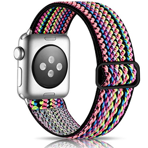 Getino Adjustable Elastic Band Compatible with Apple Watch 40mm 38mm 44mm 42mm for Women Men, Soft Stylish Cute Stretchy Woven Fabric Pattern Sport Strap Wristband for iWatch SE & Series 6 5 4 3 2 1