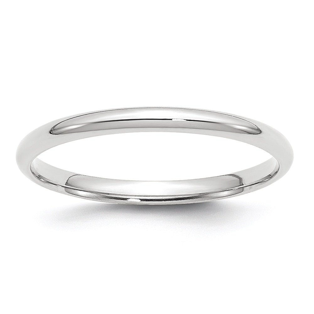 Lex & Lu 14k White Gold 2mm LTW Comfort Fit Band Ring