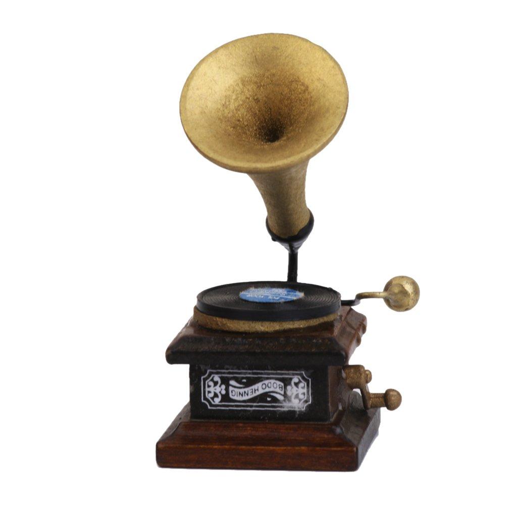 1/12 Fonógrafo Miniatura Decoración Artesanías Tocadiscos Modelo De Casa De Muñecas