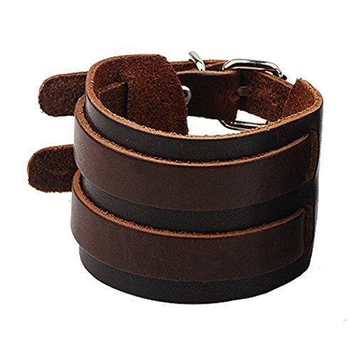 MORE FUN Cool Tribe Wide Wristband Cuff Bracelet Clasp Bangle Genuine Leather Punk Rock - Sunglasses Wedding Custom Favors
