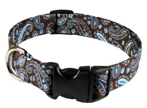 Country Brook Design Brown Paisley Designer Dog Collar-M, My Pet Supplies