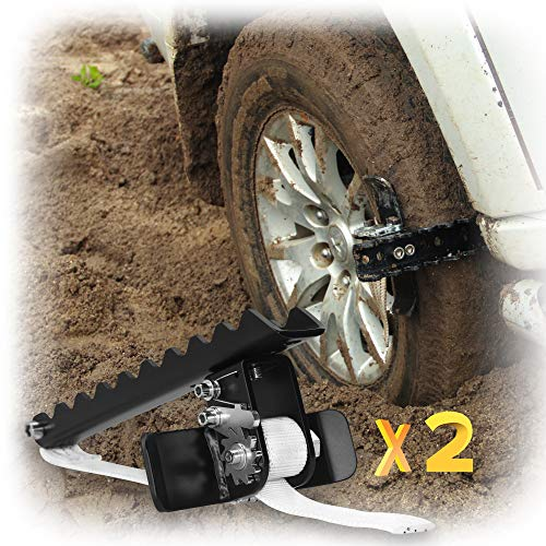 EZUNSTUCK Car Tire Anti-Skid Tool - RWD/AWD/4x4 SUV, Trucks, Pickup - EZ-D02LX Get Unstuck Solution for Mud, Sand, Snow, ice, Off-Road - Better Than Traction Mat, Recovery Tow Strap(Large/Set of 2)