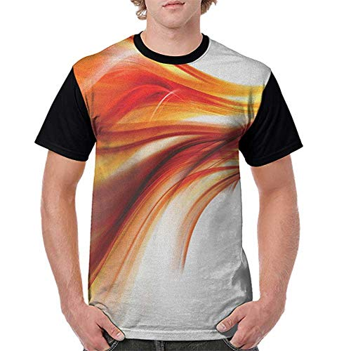 Women T Shirt,Abstract,Modern Contemporary Abstract Smooth Lines Blurred Smock Art Flowing Rays Print, Orange Red S-XXL Woman Baseball Tops