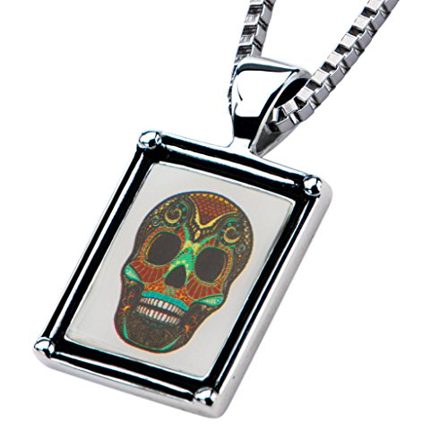 Inox Jewelry Womens Stainless Steel Sugar Skull #2 Frame Chain Necklace (Metal)