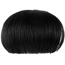 Women Girls Bob Wig Clip in Human Hair Extensions Straight Flat Bangs Fringe Black