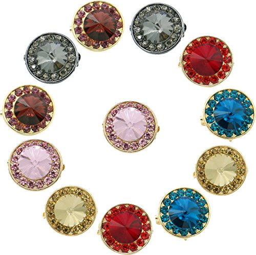 Ababalaya Muslim Multi-Use Flower Brooches Pins Hijab Pins Accessory Pack of 12 (Sapphire Round Blue Brooch)