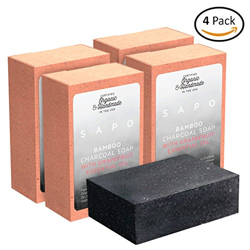 amboo Charcoal Soap Bar [4 Single Packs] - 100% Natural US Handmade - Helps with Acne, Psoriasis, Eczema - Coconut Oil, Oatmeal, Shea Butter Cleansing Bars for Face and Body Wash (Natural Mass Pack)
