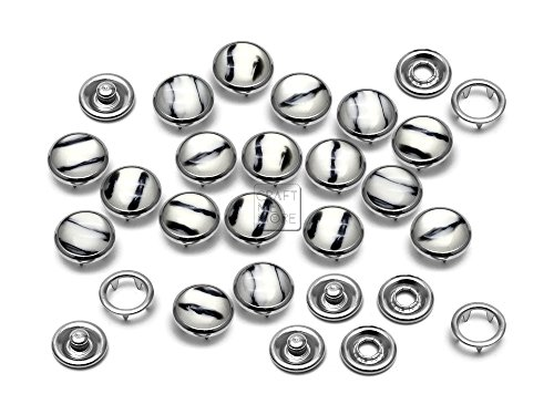 CRAFTMEmore 20 Sets 10MM Black & White Stripes Pearl Snap Fasteners Zebra Prong Studs Buttons for Western Shirt Clothes -
