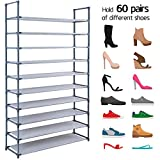 10 Tiers Shoe Rack Shelves For 60 Pairs Shoes Non-Woven Fabric Shoe Storage Organizer Cabinet Tower Shelf Space Saving DIY Assembly No Tools Required Hold High Heeled Shoes Flats Sneakers Tennis Shoes