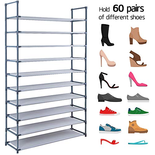 (10 Tiers Shoe Rack Shelves For 60 Pairs Shoes Non-Woven Fabric Shoe Storage Organizer Cabinet Tower Shelf Space Saving DIY Assembly No Tools Required Hold High Heeled Shoes Flats Sneakers Tennis)
