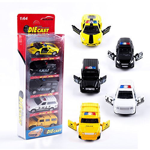 KIDAMI Die Cast Metal Toy Cars Set of 5, Openable Doors Pull Back Car Gift Pack for Kids (Police (Diecast Collector Set)