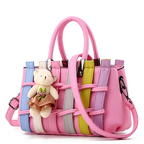 SANANG Damen Mode Bunte Top-Handle Handtasche Crossbody Messenger Umhängetasche Totes B-Light Pink