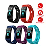 Idol Y5 Fitness Tracker with Heart Rate Sleep Monitor Color Screen Bluetooth Smart Watch Activity Tracker Waterproof Step Counter Pedometer and Calorie Counter for Android iOS (Y5 Smart Watch Red)
