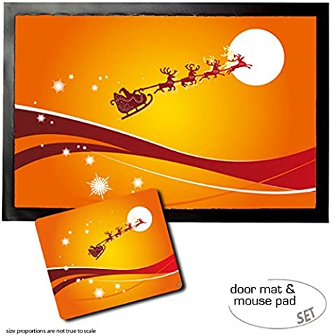 Set: 1 Door Mat Floor Mat (24x16 inches) + 1 Mouse Pad (9x7 inches) - Christmas, Santa Claus Passes Across The Moon In His Reindeer - Mouse Sleigh