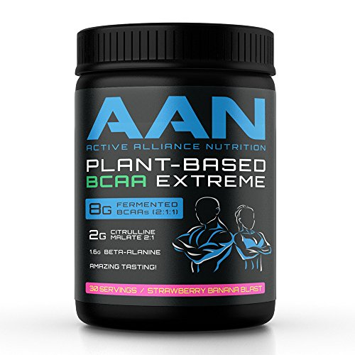 AAN's Plant-Based BCAA Powder Drink, 30 Servings - Great Tasting, 8gm Fermented BCAAs, 2gm Citrulline Malate, 1.6gm Beta-Alanine, for Intra-workout, Post-Workout and Pre-Workout Protein Building